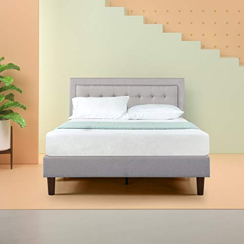 Zinus Dachelle Upholstered Button Tufted Premium Platform Bed / Mattress Foundation / Easy Assembly / Strong Wood Slat Support / Grey Sand, King