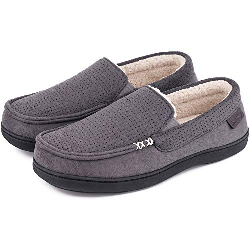 Men's Comfy Suede Memory Foam Moccasin Slippers Warm Sherpa Lining House Shoes with Anti-Skid Rubber Sole (9 M, Dark Gray)