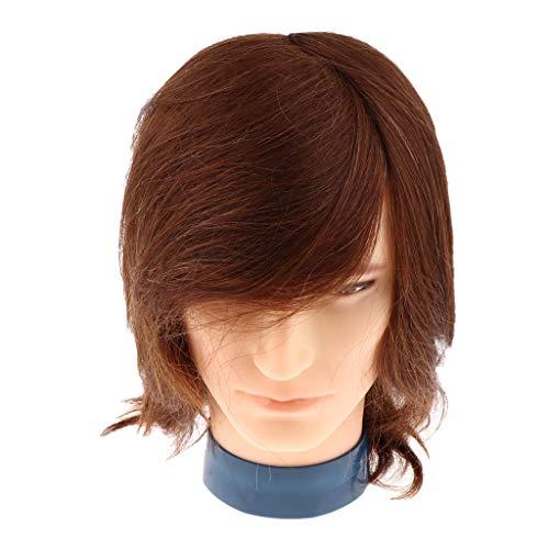 Sharplace Tête De Mannequin Homme Pratique de Coiffure Cosmétologie Modèle Pratique d'exercice Avec Cheveux pour Pratique - #2 Marron