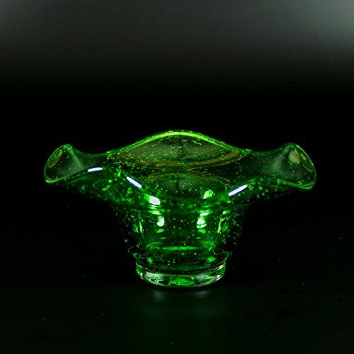 Kerzenhalter bzw. Schale Waldglas d 13cm, H 5cm mundgeblasen handgeformt Lauschaer Glas das Original