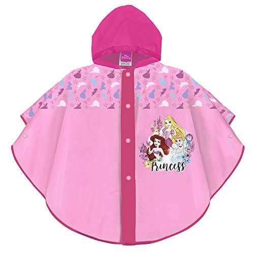 PERLETTI Disney Prinzessinnen Kinder Regenponcho Rosa Pink - Disney Princess Mädchen Wasserdicht Regencape mit Kapuze und Knöpfe - Arielle Cinderella Rapunzel Regen Jacke (Pink, 3/6 Jahren)