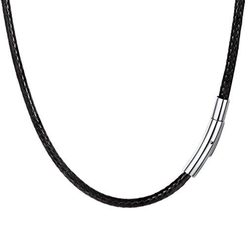 PROSTEEL Collar de Cuero Genuino para Hombre, 3mm Cadena de Cuero con Cierre de Acero Inoxidable Collar Básico, 46cm/50cm/55cm/61cm/66cm (41.00, 3mm Ancho)