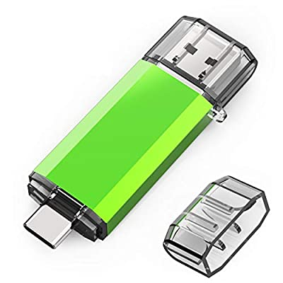 KOOTION 64GB Dual USB 3.0 Flash Drive, 2 in 1 Type C USB C Memory Sticks for Data Storage Compatible with Samsung S8/S9 Huawei P9/P10/P20(Green)