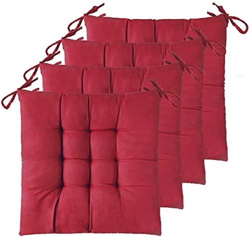 Pack 2 Unidades Cojines para Silla, 40X40 CM, Relleno de Algodón, Ideal para la Decoración de Cocina y Sala, Fabricado en España (2 Unidades, Rojo)