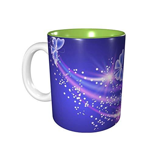 Tazas de viaje de cerámica, taza de café para amantes del café, taza de café decorativa, ropa de cocina para el hogar, taza de viaje de mariposa multicolor, 11 oz-KN