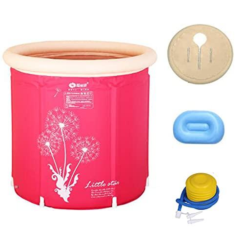 Bañera inflable portátil duradera para remojar la piscina inflable independiente, ideal para pequeña cabina de ducha, spa, fácil de instalar, con bomba de aire, color rosa 70 x 75 cm