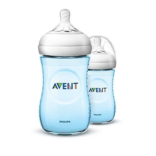 Philips Avent Natural Bottle SCF035/27, 260 ml, natuurlijk drinkgedrag, anti-colik-systeem Natuurlijke fles blauw