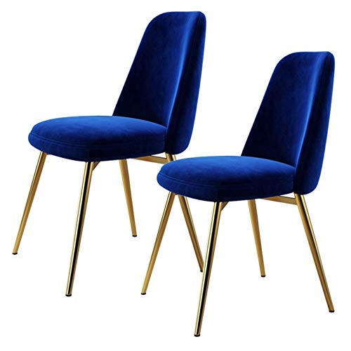ZCXBHD Velvet Dining Chairs Scandinavian Kitchen Counter Lounge Chair Living Room Corner Chair Tub Chair With Metal Legs And Backrest (Color : Blue, Size : 2pcs)