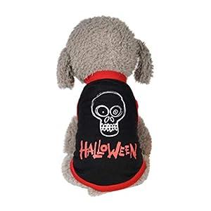 Kolylong ? Halloween Costume vêtements pour chien Puppy Dog Tee Shirts chemise Vêtements chemisier Gilet Vest Animal de compagnie Déguisement Mignon motifs de crâne Araignee Citrouille