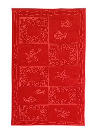 So My Home Telo Mare XXL 100x200cm - 100% Cotone 380g/m2 - Design Tropicale - Colore Rosso