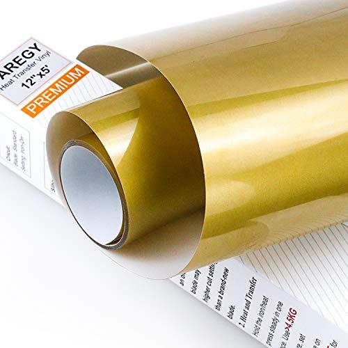 CAREGY Iron on Heat Transfer Vinyl Roll HTV (12''x5',Gold)