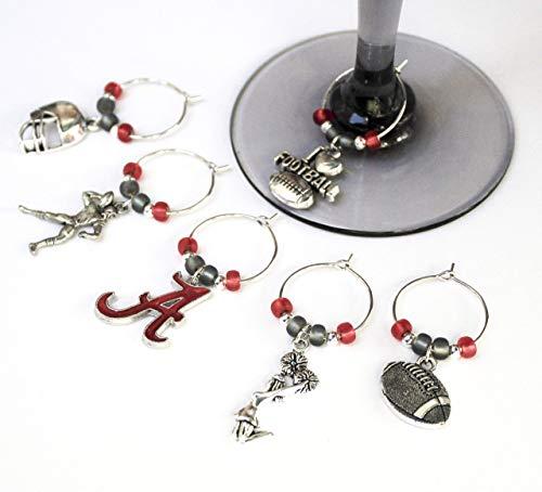 Football-ALABAMA-Wine Glass Charms-Set of 6-FTBLL041-6