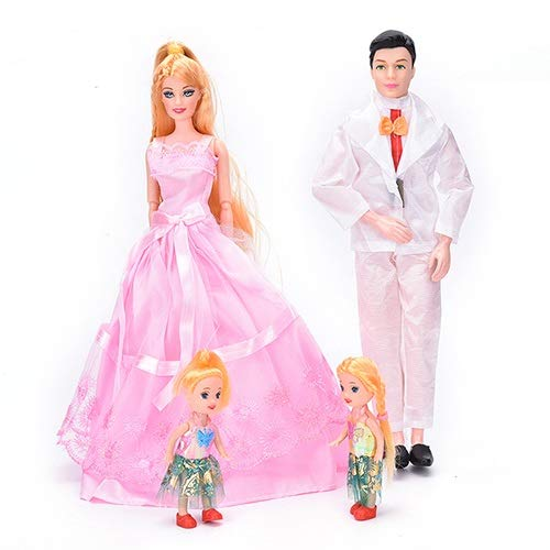 XKMY Barbie Doll 1 Unidades Familia 4 Personas 1 Mamá/1Dad/2 Pequeña Niña para Barbie, Girl Play House Juguetes Regalos Muñecas Trajes