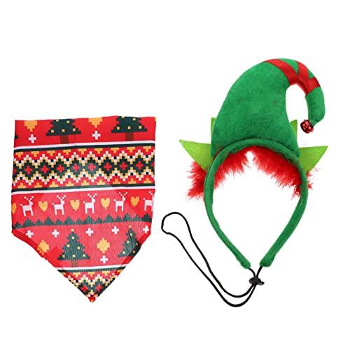 POPETPOP 2 Unids/Set Disfraz de Navidad para Perros con Toalla de Saliva Bandana Cinta para La Cabeza de Elfo para Mascotas Suministros de Navidad para Fiestas de Navidad