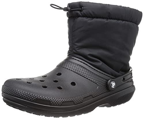 Crocs Unisex Men's and Women's Classic Lined Neo Puff Winter Boots Snow, Black/Black, 13 US