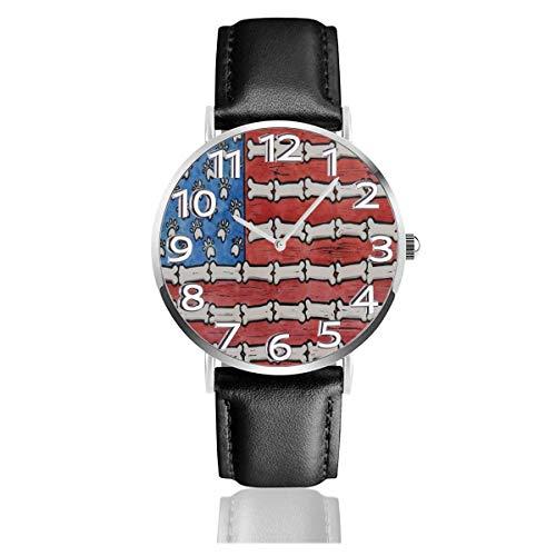 Reloj de Pulsera Patas de Perro Huesos Bandera Estadounidense Caucho Durable Correa de Cuero PU Relojes de Negocios de Cuarzo Reloj de Pulsera Informal Unisex