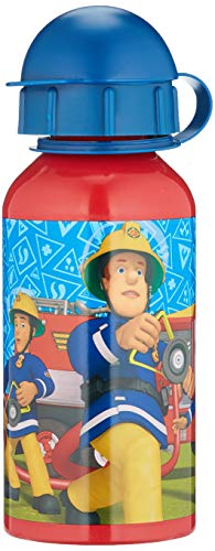 POS 26358 - Trinkflasche mit Feuerwehrmann Sam Motiv, aus Aluminium, bpa- und phthalatfrei, Fassungsvermögen ca. 400 ml, ideal für Unterwegs, Schule und Sport