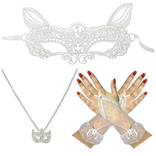 Dangerousfx Weiße Hasenmaske + Silbermasken-Halskette + Fingerlose Ringhandschuhe