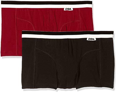 Unno DIM Basic Algodón Elástico Bóxer, Negro (Rojo Grenat/Negro), Medium (Tamaño del fabricante:3) (Pack de 2) para Hombre