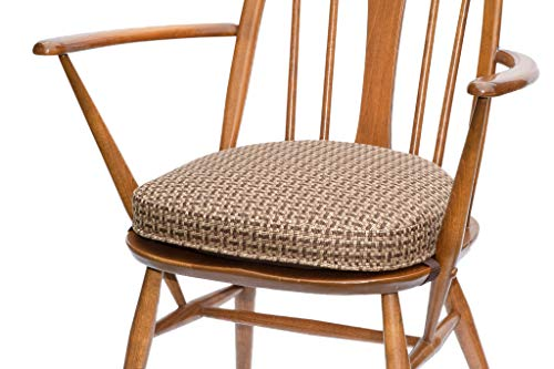 Inspirado Seat Cushion for Ercol Windsor Dining Chair (Seat-width-451mm, 04 Brown-and-white) - order several if a set is required