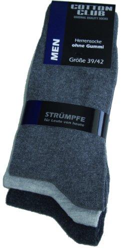 Cotton Club Herren Socken ohne Gummib& 3er Pack (47-50, grautöne)