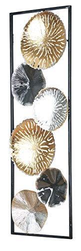 3D Wandbild 30x90cm Ringe Metall Silber Kupfer Gold Deko Wandkunst Design Metallbild Teller Wanddeko