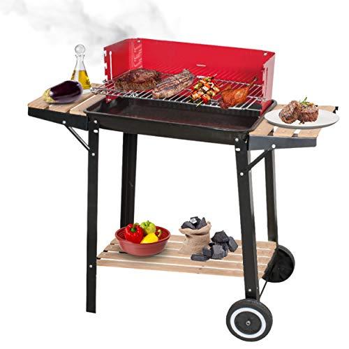 KASALINGO, Barbecue a carbonella, da terrazzo, giardino o balcone, barbecue americano con griglia in acciaio inox, barbecue portatile con ruote, 83 x