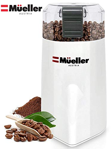 Mueller Austria HyperGrind Precision Electric Coffee Grinder Mill with Large Grinding Capacity and HD Motor also for Spices, Herbs, Nuts, Grains, White