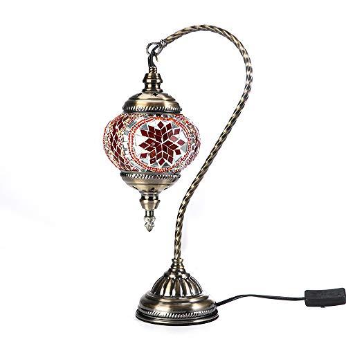 Kindgoo Orientalische Marokkanische lampe Vintage Mosaik Nachttischlampe für Schlafzimmer Elengant Swan Neck Bronze Base (Red)