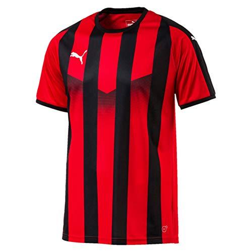 Puma Herren Liga Jersey Striped T-Shirt, Red Black, XL
