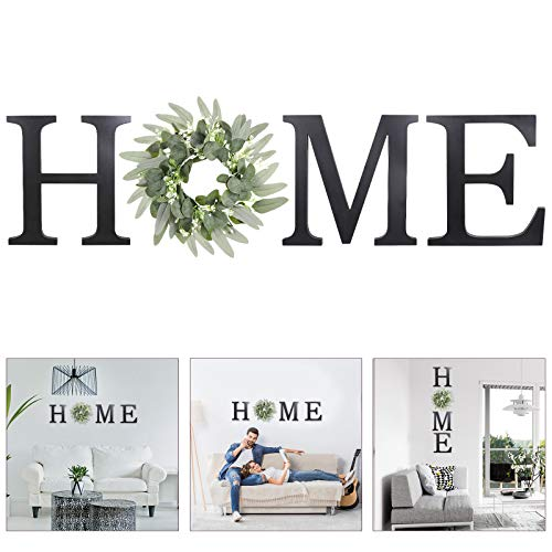 Wooden Home Sign Wall Hanging Decor - Wood Home Letters for Wall Art with Artificial Eucalyptus...