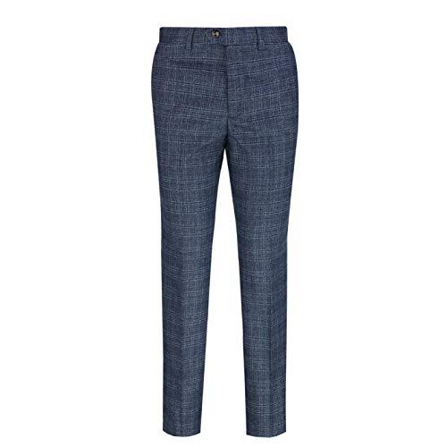 Xposed Herren Retro Vintage Fischgrätenmuster Tweed Hose Classic Peaky Blinders Slim Fit Anzug Hose Gr. 34, Blue-Label