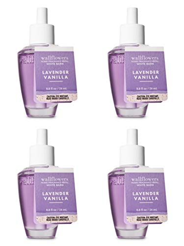 Bath and Body Works 4 Pack Lavender Vanilla Wallflowers Fragrance Refill. 0.8 fl oz.