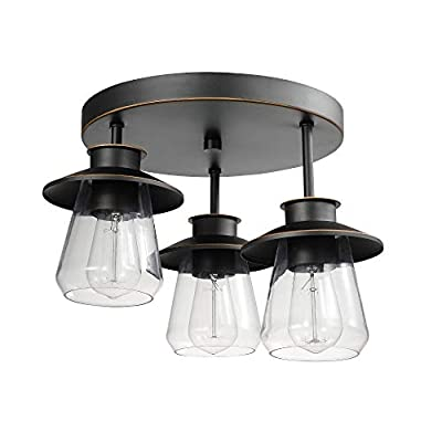 Globe Electric Nate 3 Oil Rubbed Bronze Semi-Flush Mount Ceiling Light with Clear Glass Shades 60879 - MODERN FARMHOUSE: warm minimalism and industrial elements come together with the Nate Collection to emphasize the balance between cozy and functional lighting thus epitomizing the modern farmhouse design trend CLEAR GLASS SHADES: the clear glass shades are perfect for changing the look of your flush mount - change the bulb, change the look! Try vintage Edison bulbs for an effortless mid-century modern look or use designer bulbs for a completely different feel BULB REQUIREMENTS: 3x E26/Medium Base 60W Bulbs (sold separately) - kitchen-dining-room-decor, kitchen-dining-room, chandeliers-lighting - 41tAmp2ShoL. SS400  -