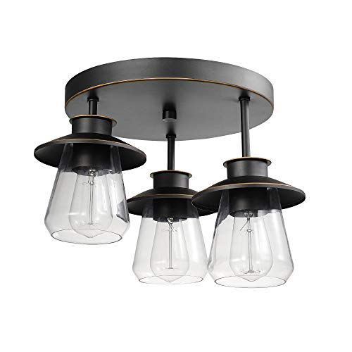 Globe Electric Nate 3 Oil Rubbed Bronze Semi-Flush Mount Ceiling Light with Clear Glass Shades 60879