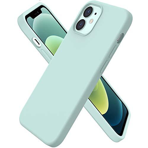 ORNARTO Custodia Compatibile con iPhone 12 Cover Sottile 6,1,Compatibile con iPhone 12 PRO Cover Silicone Liquido Protezione Completa in Gomma Gel Morbida con Fodera in Microfibra 6,1 Menta Verde