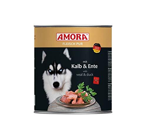 Amora Dog Fleisch pur Kalb & Ente | 6 x 800g Hundefutter nass