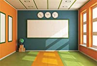 HiYash 7x5ft ビニール素材の教室の背景学校に戻る写真の背景オンライン教育コースの教室、黒板の本と地球の子供男の子学生の肖像画の写真スタジオの小道具
