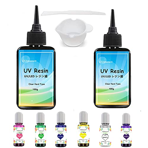 CSDmeewin UVレジン液 200g +レジン着色剤6色 大容量 高い透明 ハードタイプ 日本語取扱説明書付