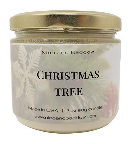 Christmas Tree Soy Wax Candles by Nino and Baddow - Candle Scented with Essential Oils Blend - Provides Home Aromatherapy and Odor Eliminator - The Natural Soy-Based Oil Scent in a Jar is Pure Aroma