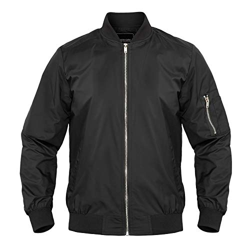MAGNIVIT Men's Casual Lightweight Jacket Softshell Winter Bomber Jacket Varsity Coat Black