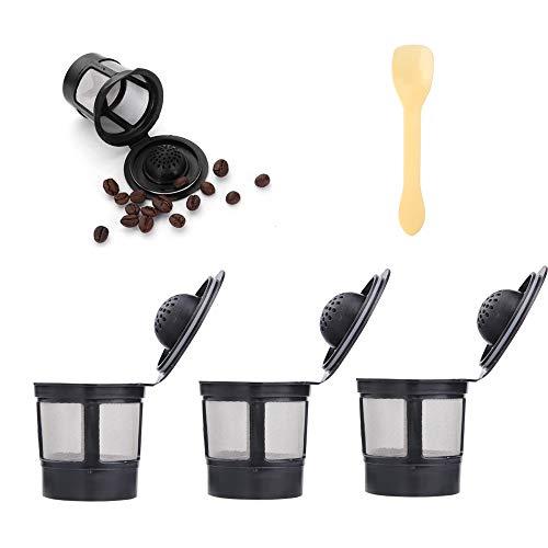 Uponer 3 stück Kaffeefilter Wiederverwendbare K Tassen Filter Filterhalter K-Cup für Keurig 1.0 Schwarz mit Löffel