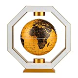 ZSAIMD Magnetic Rotating Globe, Levitating Globe LED Light Decor Floating Globe Magnetic Levitation Rotating World Map Polygon Colored Lights Teaching Resources Home Office Desk Decoration