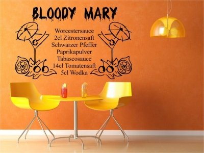 "Preisvergleich Produktbild Wandtattoo Cocktail Rezept ""Bloody Mary"" Wandtatoo Tattoo Wandaufkleber ( 120x77cm)"
