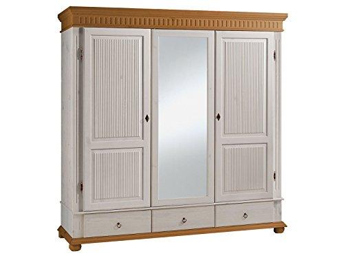 Kleiderschrank Massivholzschrank Schlafzimmerschrank Schrank 'Silvana IV' 199 cm weiß/antik