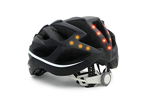 Livall Unisex– Erwachsene BH62 Musik, Rücklicht, Blinker, Navigation, Anruffunktion und SOS-System Fahrradhelm, schwarz/Weiß, 55-61cm