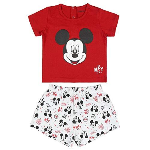 Cerdá Pijama Niño 3 Años de Mickey Mouse - Camiseta + Pantalon de Algodón - Color Rojo Juego Unisex bebé