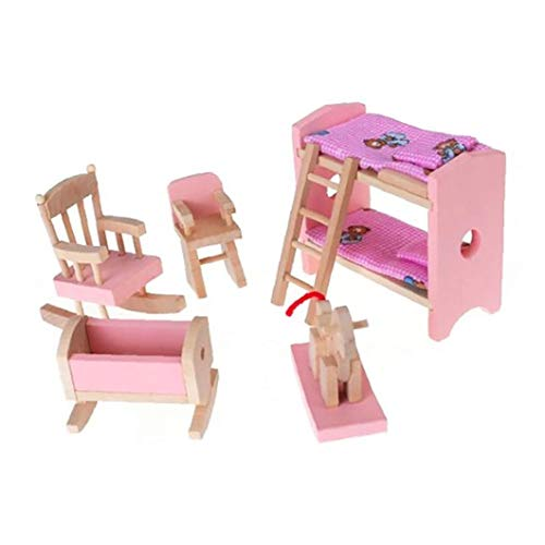 YaptheS Miniatura De Madera De Muebles Incluir Litera Presidente Cuna Kid Regalo De Los Niños Casa De Muñeca De Juguete Mini Muebles