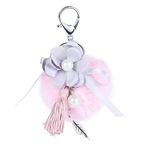 Steellwingsf Hermosa bola de felpa flor llavero borla mujer bolso colgante decoración llavero (rosa)
