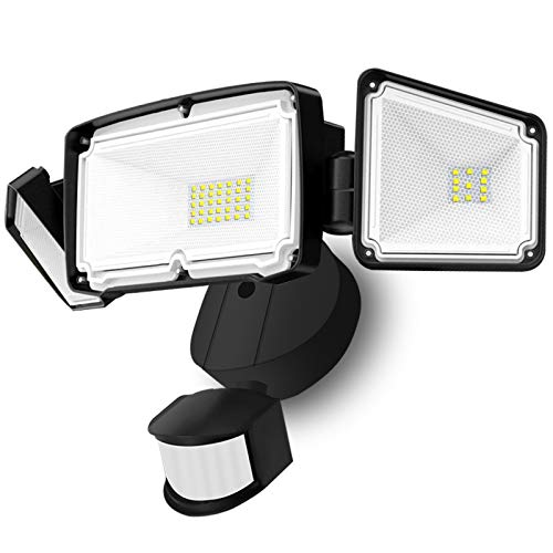 Sonata LED Security Lights, 4000LM Super Bright Motion Sensor Light Outdoor, 42W 6000K, IP65 Waterproof Motion Sensor Flood Light with 3 Adjustable Heads for Entryways, Yard, Garage (Black)